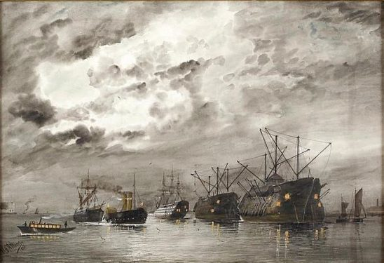 An old painting showing a fleet of ships in harbor.