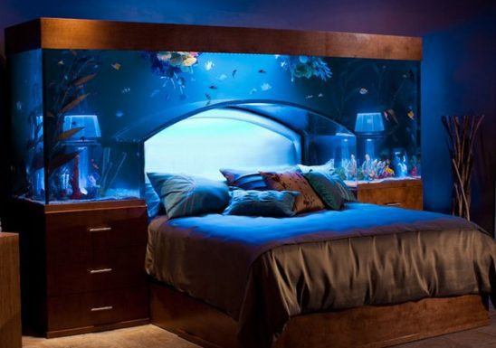 A bed with an aquarium over it.