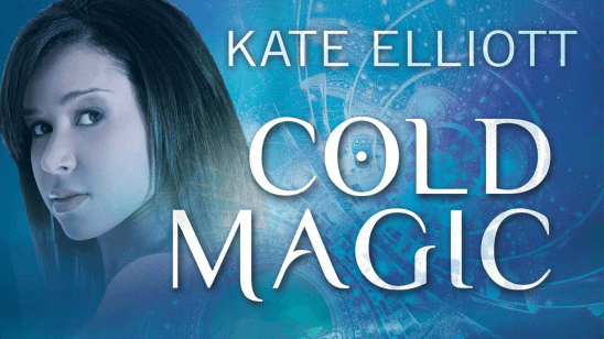 Cover art of Cold Magic, showing a young woman looking over her shoulder on a teal background.