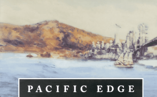 A ship passing under a bridge on the cover of Pacific Edge.