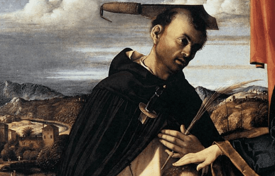 A classical painting with a man who's been stabbed and hacked with a sword.
