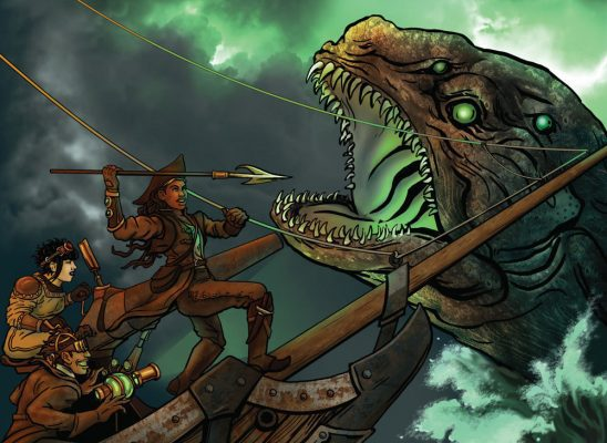 Steampunk sailors battle a sea monster