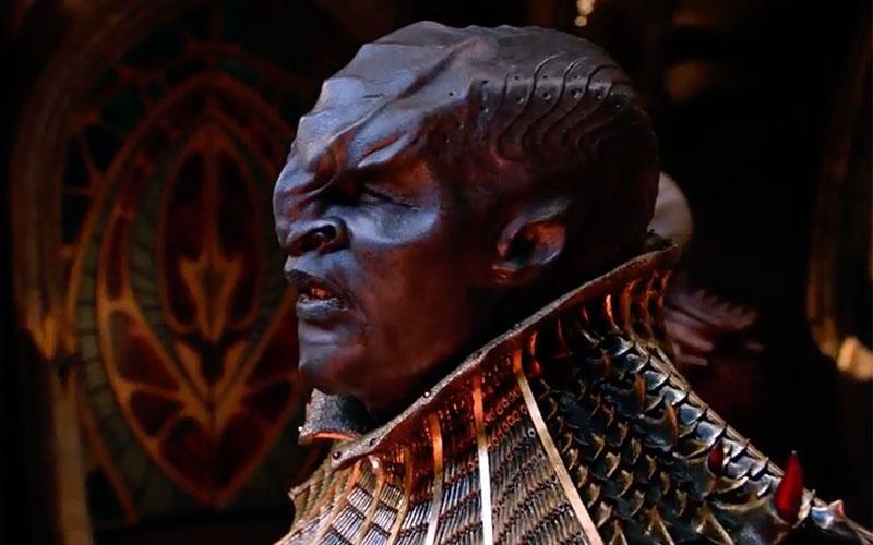 A dark-skinned Klingon from star trek discovery