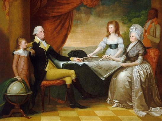 A painting of George Washington and his family.
