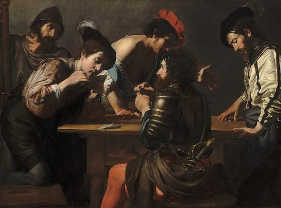 A group of well dressed Renaissance soldiers playing games of chance.