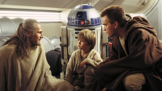 Qui-Gon, Obi-Wan, Anakin, and R2D2 from Phantom Menace.