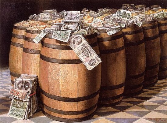 A painting of barrels full of money.
