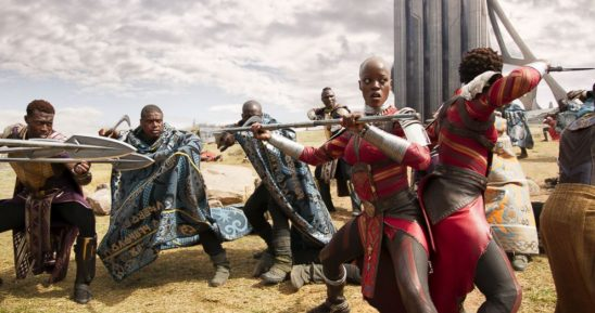 Wakandan soldiers battling in Black Panther.
