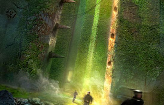 People run through giant concrete blocks overgrown with vegetation