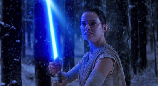 Rey with Luke's lightsaber in Phantom Menace.