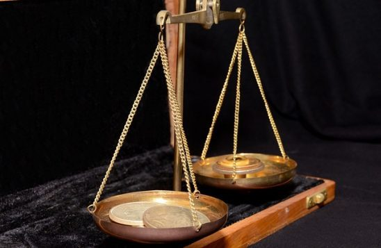 A set of balanced scales.