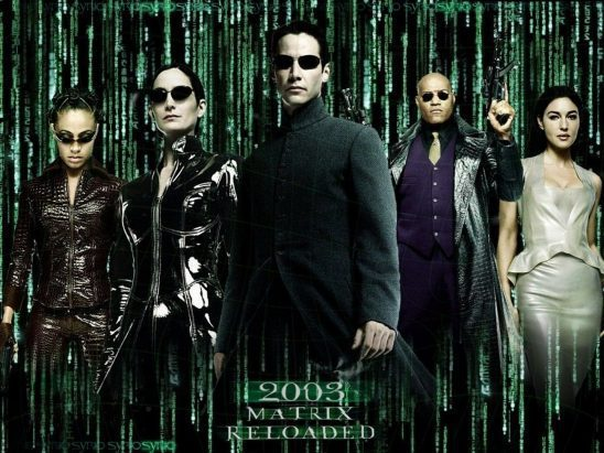 Neo, Trinity, and Morpheus from the second Matrix film poster.