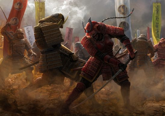 Two samurai dueling from Legend of the Five Rings