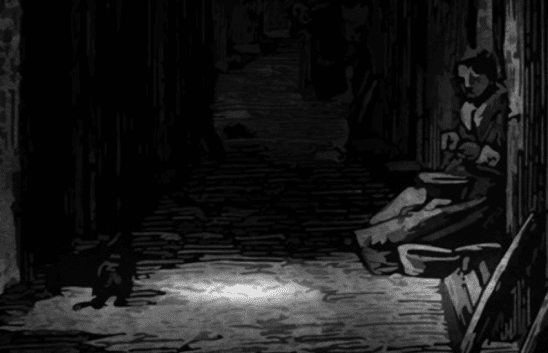 A dark alley from Doskvol, the main city of Blades in the Dark.
