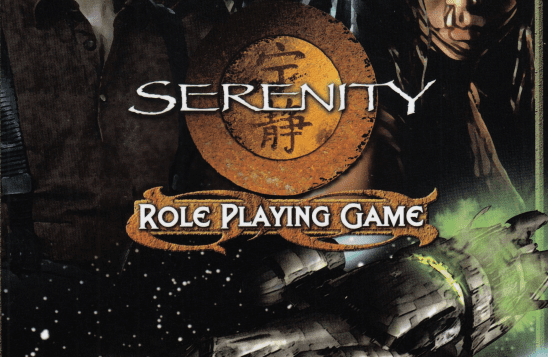 Serenity flying in front of the Serenity RPG logo.