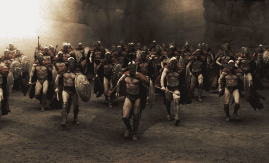 Unarmored Spartans from 300.