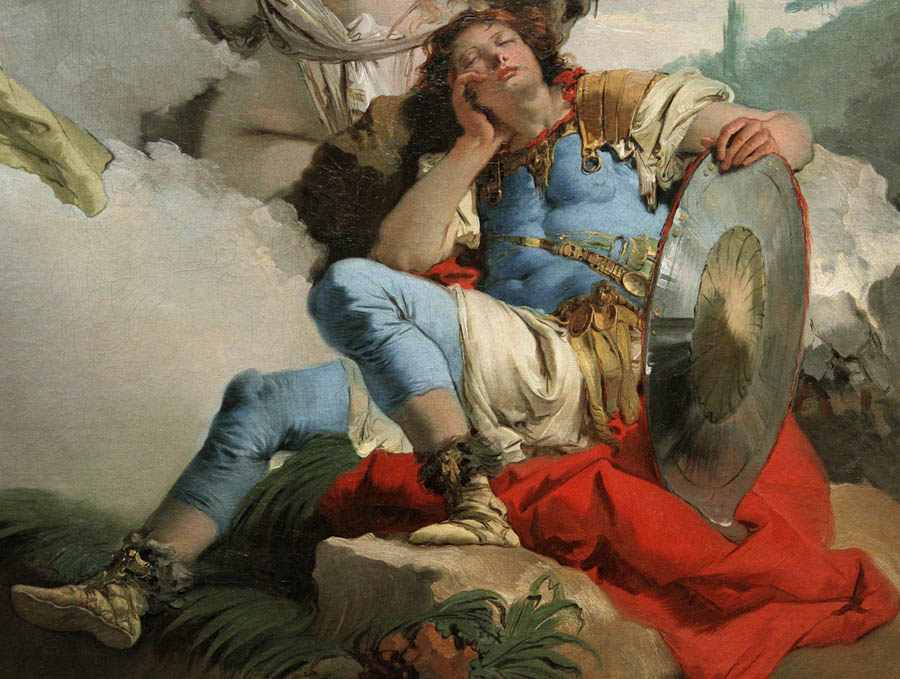 A painting of a sleeping soldier.