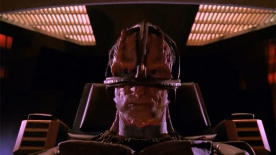 A Cardassian on the Enterprise view screen from The Wounded.