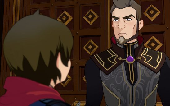 Lord Viren blocking Callum from going through a door in The Dragon Prince