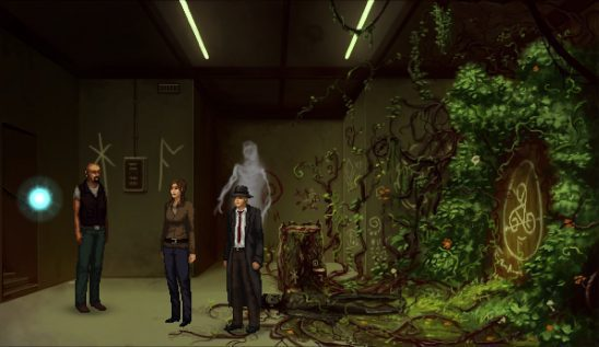 Three characters from Unavowed standing in a plant-filled basement.