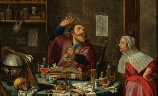 A classical painting of an alchemist working with potions.