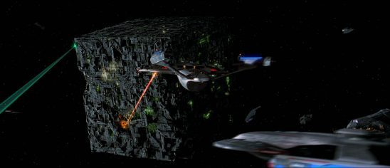 The Enterprise and other Starfleet ships attacking the Borg in First Contact.