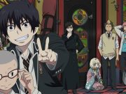 The characters of Blue Exorcist posing for a picture.