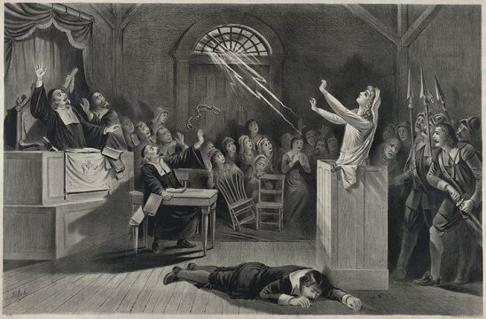A lightning bolt crashing through the church window during the Salem Witch Trials.