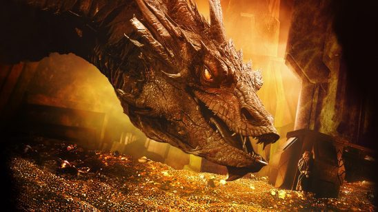 Smaug threatening Bilbo in The Hobbit films.