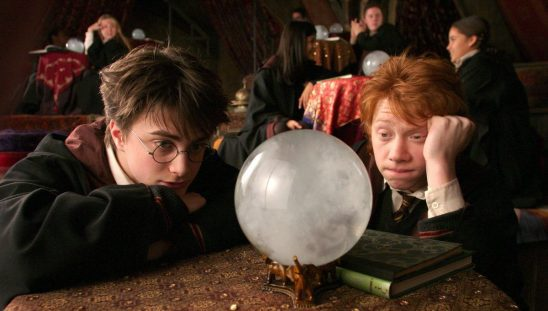 Harry and Ron staring into a crystal ball.