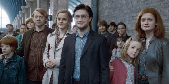 The Harry Potter characters gathered together in the epilogue scene.