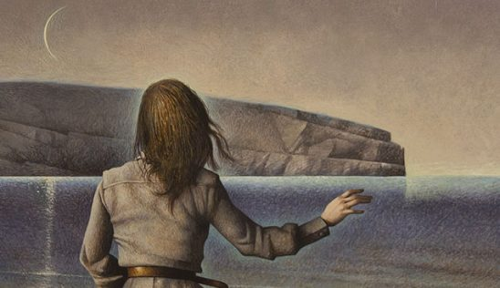 A woman facing the ocean, cover art for Winter Tide.