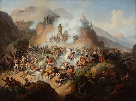 A painting of the rough terrain at the battle of Somosierra.