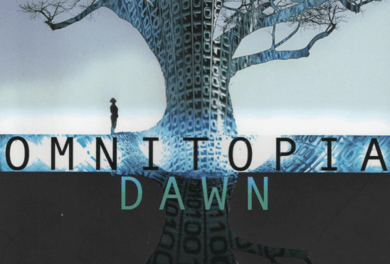 Cover art for Omnitopia Dawn, showing a man staring at a tree made of code.