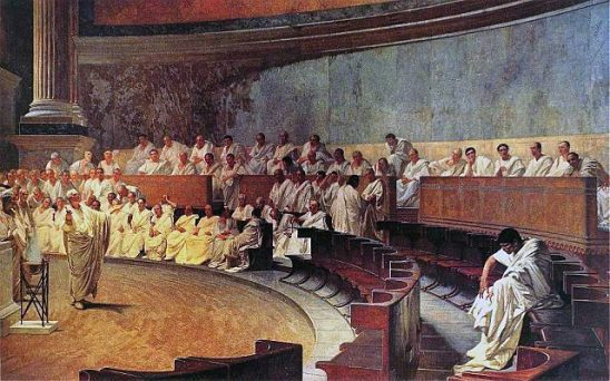 A painting of the Roman Senate.
