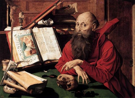 A painting of a creepy looking Renaissance scholar.