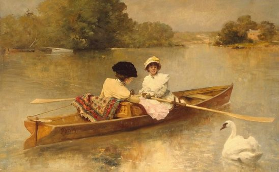 An old painting of two girls in a small boat passing a swan.
