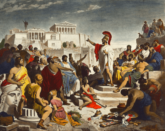 A painting of Greeks from the Peloponnesian War