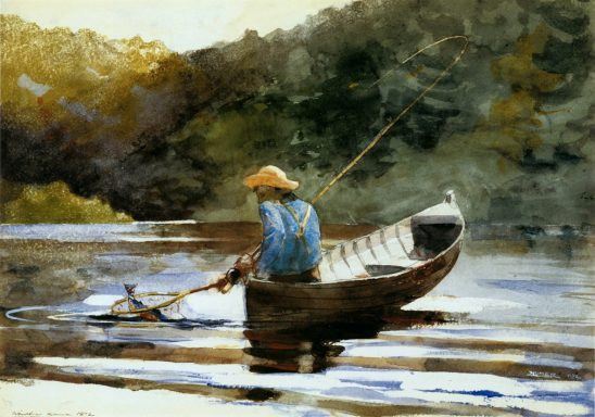 A painting of a person scooping fish out of the water.