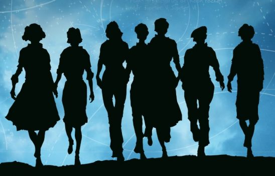 On the cover of The calculating stars, a group of women walk in front of a night sky overlaid with a start chart.
