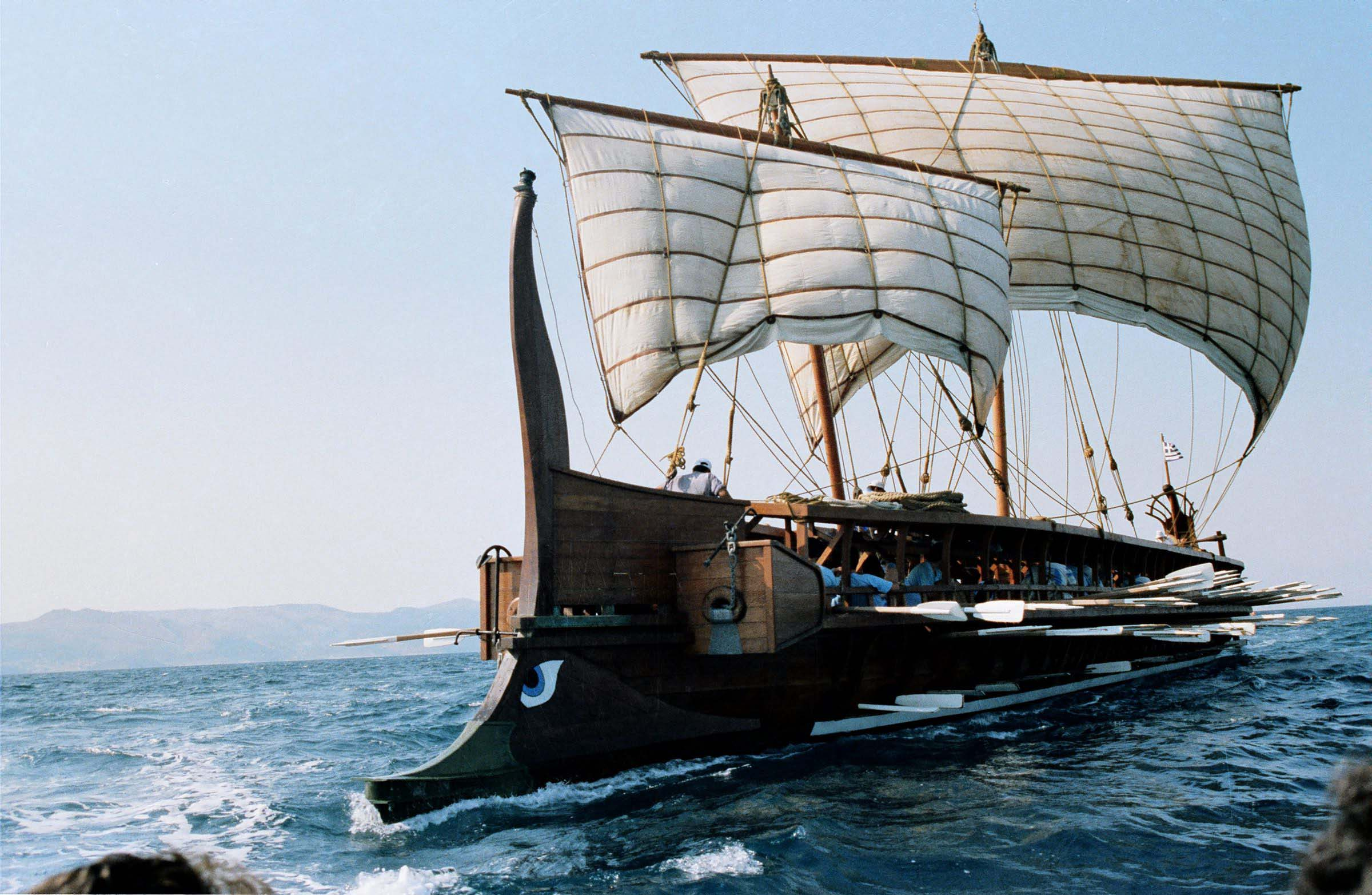 A photo of the Olympia, a replica Trireme from the Greek Navy.
