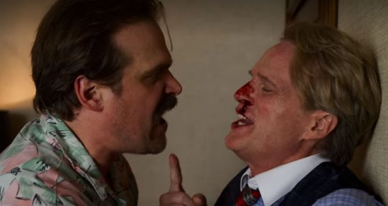 Hopper throws the Mayor, who has a bloody nose, against the wall