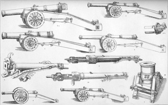 A black and white comparison of several different types of cannon.