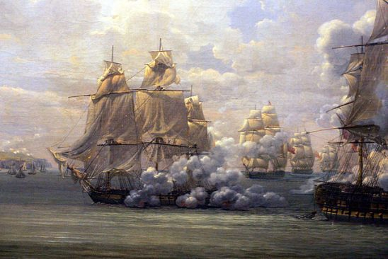 A painting of a naval battle in which one ship rakes another.