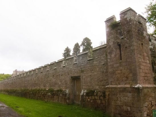A castle walls and tower.