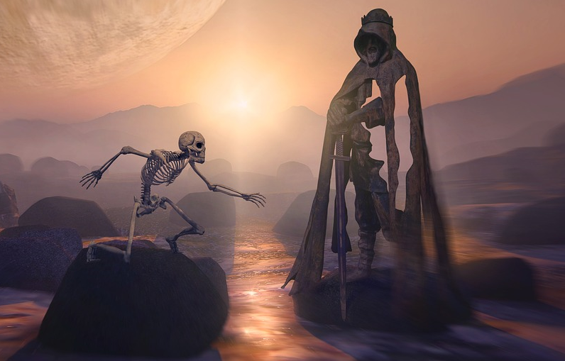 A skeleton facing a strange stone statue.
