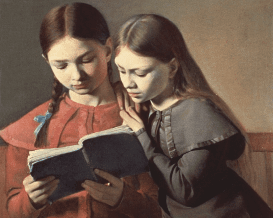 A classic painting of two girls reading a book together.