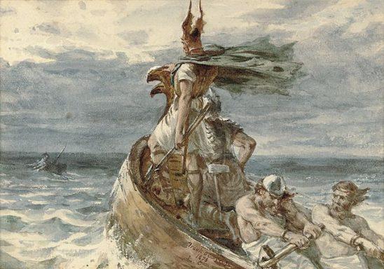 A painting of Vikings sailing a longship.
