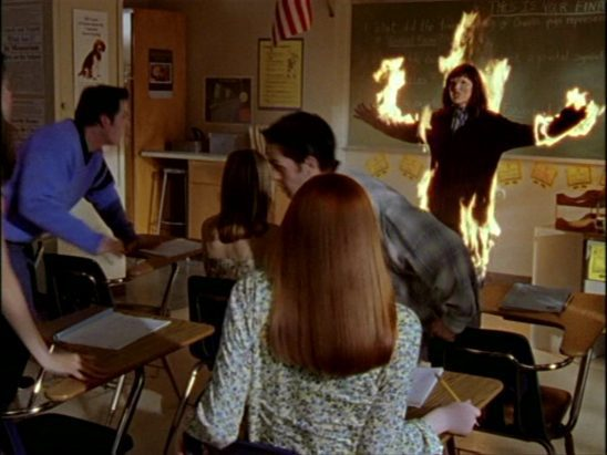 A vampire catching on fire in Buffy's class
