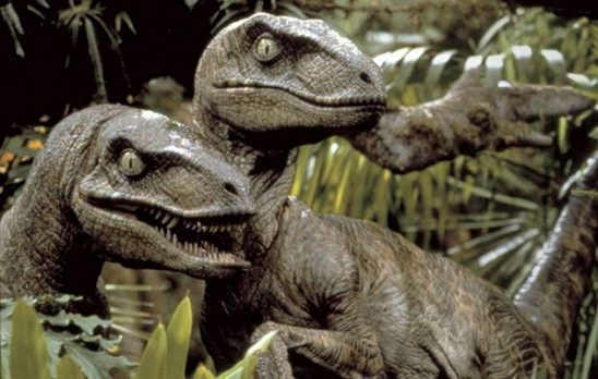 Two raptors from Jurassic Park.